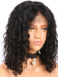 cheap -Human Hair Lace Front Wig / Glueless Lace Front Wig Brazilian Hair Curly / Water Wave Bob Haircut / Short Bob 130% Density With Baby Hair / Natural Hairline / Middle Part Women's Human Hair Lace Wig
