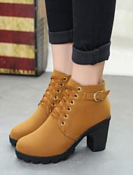 preiswerte -Damen Schuhe PU Herbst / Winter Komfort Stiefel Blockabsatz Runde Zehe / Geschlossene Spitze Booties / Stiefeletten Schwarz / Gelb / Grün