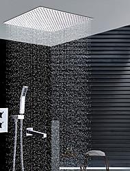 Moderní Instalace na zeď Dešťová sprcha Včetne sprchové hlavice Termostatický Keramický ventil Dvěma uchy čtyři otvory Pochromovaný ,