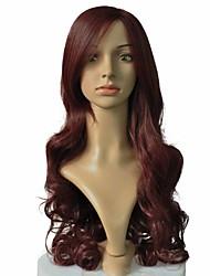 Недорогие -Парики из искусственных волос Крупные кудри Стрижка каскад Искусственные волосы Природные волосы Красный Парик Жен. Длинные Парик из