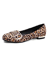 cheap -Women's Shoes Fleece Spring Summer Comfort Ballerina Light Soles Flats Flat Square Toe Buckle for Office & Career Dress Leopard Black