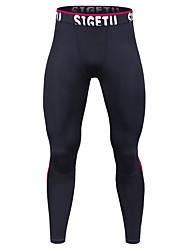 cheap -Men's Running Pants Breathability Tights Exercise & Fitness Running Mountain Bike/MTB Polyester Black/Red Green/Black Burgundy L XL XXL