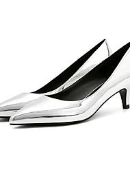 preiswerte -Damen Schuhe Lackleder PU Frühling Herbst Komfort Pumps High Heels Stöckelabsatz Spitze Zehe für Normal Büro & Karriere Weiß Schwarz