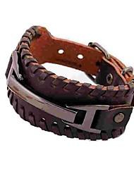 preiswerte -Herrn Leder Armreife - Einfach Rock Kreisform Schwarz Braun Armbänder Für Alltag