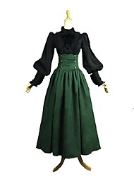cheap -Rococo Victorian Costume Women's Adults' Outfits Black Dark Green Vintage Cosplay 70% cotton 30%  nylon + spandex Long Sleeves