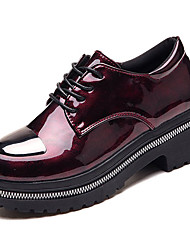 cheap -Shoes PU Spring Fall Comfort Oxfords Creepers Round Toe for Casual Black Wine
