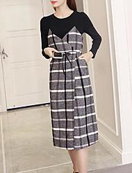 abordables -Set Robes Costumes Femme,Couleur Pleine Décontracté / Quotidien simple Hiver Manches Longues Col Arrondi Polyester