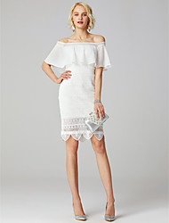 cheap -Sheath / Column Off-the-shoulder Short / Mini Lace Wedding Dress with Appliques by LAN TING BRIDE®