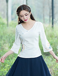 cheap -Women's Casual/Daily Chinoiserie Shirt,Embroidery V Neck 3/4 Length Sleeve Cotton Linen