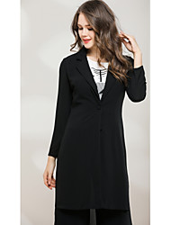 cheap -Women's Work Cute Active Trench Coat - Solid Colored V Neck