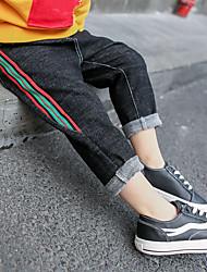 cheap -Boys' Color Block Plaid Pants, Cotton Spring All Seasons Active Black