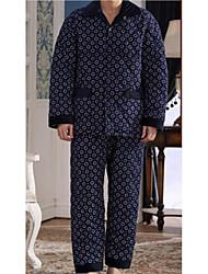abordables -Costumes Pyjamas Homme,Fleur Epais Polyester Bleu Marine Bleu royal