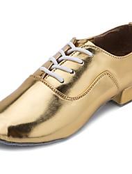 cheap -Latin Shoes Patent Leather Heel Cuban Heel Customizable Dance Shoes Gold