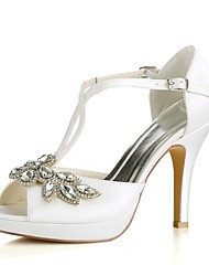 cheap -Women's Shoes Stretch Satin Summer Basic Pump Wedding Shoes Stiletto Heel Peep Toe Crystal / Buckle Ivory / Party & Evening