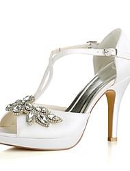 preiswerte -Damen Schuhe Stretch - Satin Sommer Pumps Hochzeit Schuhe Stöckelabsatz Peep Toe Kristall Schnalle für Hochzeit Party & Festivität
