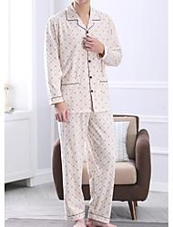 cheap -Men's Suits Pajamas,Print Cotton Light gray Beige