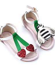 cheap -Girls' Shoes Leather Spring Summer Comfort Sandals for Casual White Yellow