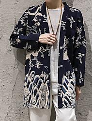 Tisk Jdeme ven Na běžné nošení Kabát-Podzim Bavlna Do V Dlouhé rukávy Dlouhé Velkoformátové