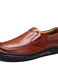 baratos -sapatos Pele Real Pele Primavera Outono Conforto Sapatos formais Sapatos de mergulho Mocassins e Slip-Ons para Casual Preto Castanho