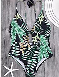 abordables -Femme arbres/Feuilles Licou Une-pièce Maillots de Bain Soutien-Gorge & Bracelet Assortis,Fibre de bambou Vert