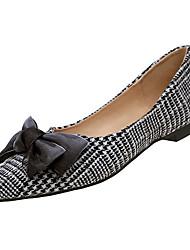 Недорогие -Жен. Обувь Ткань Весна Удобная обувь На плокой подошве На плоской подошве Заостренный носок Бант Коричневый / Черно-белый