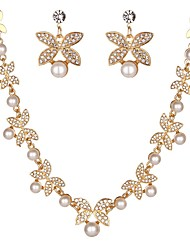 cheap -Women's Jewelry Set - Imitation Pearl, Imitation Diamond Flower Classic, Fashion Include Stud Earrings / Necklace Gold / Silver For Engagement / Ceremony