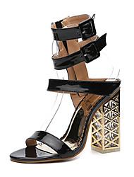 Недорогие -Жен. Обувь Дерматин Весна Лето Удобная обувь Оригинальная обувь Модная обувь Сандалии Каблук с хрустальной отделкой для Повседневные Для