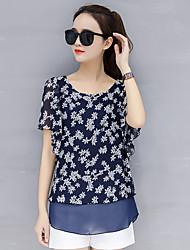 baratos -blusa solta de poliéster feminino - floral, malha básica