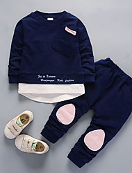 cheap -Boys' Daily Color Block Clothing Set, Nylon Fall Long Sleeves Casual Blushing Pink Navy Blue Light Green Light Blue