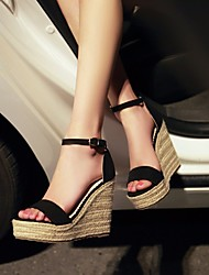 cheap -Women's Shoes Fleece Summer Comfort Sandals Wedge Heel Buckle for Casual Black Fuchsia Green