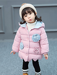 cheap -Girls' Birthday Daily Color Block Special Design Down & Cotton Padded, Polyester Long Sleeves Cute Casual Active Blushing Pink Fuchsia