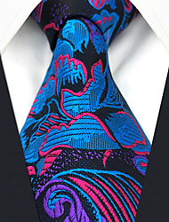 cheap -Men's Party Work Rayon Necktie - Floral Rainbow Jacquard Criss-Cross