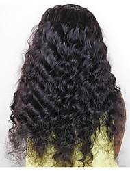 preiswerte -Echthaar Spitzenfront Perücke Malaysisches Haar Lose gewellt Mit Strähnen 250% Dichte Natürlicher Haaransatz Medium Lang Damen Echthaar