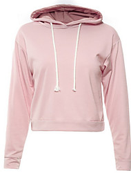 cheap -Women's Daily Solid Hooded Hoodie Short,Long Sleeves Fall