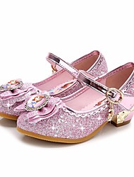cheap -Girls' Shoes Sparkling Glitter Spring Fall Tiny Heels for Teens Flower Girl Shoes Comfort Heels for Casual Purple Pink