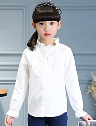cheap -Girls' Solid Shirt, Cotton Spring Fall Long Sleeves Simple White