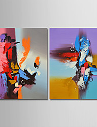 abordables -Pintura al óleo pintada a colgar Pintada a mano - Abstracto Contemporáneo Simple Modern Lona