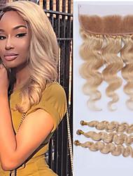 Недорогие -3 комплекта с закрытием Малазийские волосы Естественные кудри Натуральные волосы Волосы Уток с закрытием Ткет человеческих волос Расширения человеческих волос