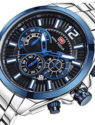 economico -MINI FOCUS Per uomo Orologio da polso Giapponese Calendario / Cronometro / Orologio casual Acciaio inossidabile Banda Lusso / Casual Argento