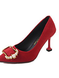 Недорогие -Жен. Обувь Полиуретан Лето Туфли лодочки Обувь на каблуках На шпильке Заостренный носок Искусственный жемчуг Черный / Красный /