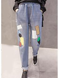 cheap -Women's Mid Rise Micro-elastic Wide Leg Jeans Pants,Simple Wide Leg Jeans Geometric