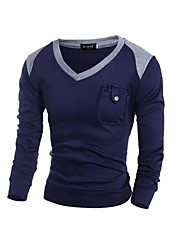 cheap -Men's Long Sleeves Pullover - Color Block V Neck
