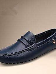 靴 レザー 春 秋 コンフォートシューズ ローファー&スリップアドオン のために カジュアル ホワイト ブラック ブルー
