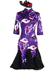 baratos -Dança Latina Vestidos Mulheres Espetáculo Náilon Chinês Elastano Fio Elástico Renda Estampa Manga 3/4 Natural Vestido