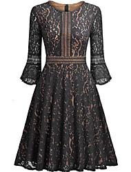 preiswerte -Damen Retro Baumwolle A-Linie Kleid Solide Knielang Schwarz