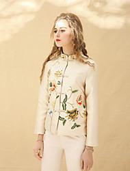 baratos -Mulheres Blusa Vintage Temática Asiática Bordado, Sólido Colarinho Chinês