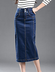 cheap -Women's Bodycon Skirts - Solid, Modern Style Denim
