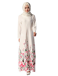 abordables -Ethnique et Religieux Robe Arabe Abaya Robe caftan Jalabiya Féminin Fête / Célébration Déguisement d'Halloween Blanc Fleur