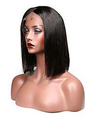 Недорогие -Натуральные волосы Бесклеевая кружевная лента / Лента спереди Парик Перуанские волосы Прямой Парик С пушком 130% Природные волосы / 100% девственница / Необработанные Жен. Короткие / Средние / Длинные
