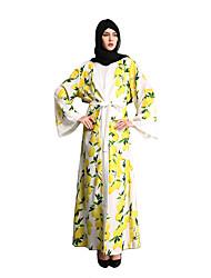cheap -Fashion Kaftan Dress Abaya Arabian Dress Women's Festival / Holiday Halloween Costumes White Blue Printing